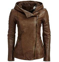 KXP Womens Fashion Side Zipper Moto Faux Leather Outwear Jacket Camel M