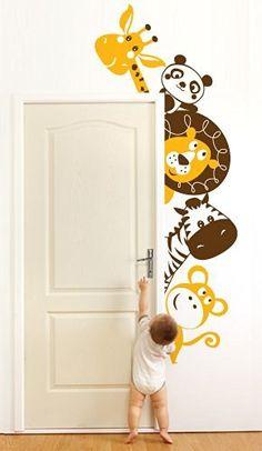 Adesivi Creativi, Adesivo murale Animaletti Affacciati 2 Dimensioni 59 X 150 cm | Wall Stickers per la decorazione della cameretta dei bimbi
