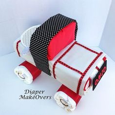 Truck Diaper Cake - Baby Boy Diaper Cake - Unique Diaper Cake - Baby Shower Gift or Centerpiece - OOAK Gift Ideas