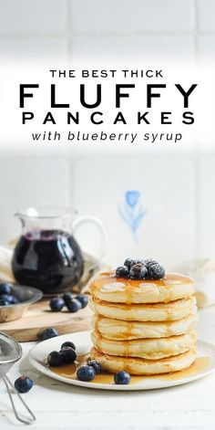 Easy Fluffy Pancakes with Blueberry Sauce #pancakes #breakfast #blueberrysauce #blueberries #brunch