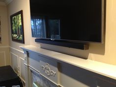 Samsung Sound Bar installed flush against the front surface of the TV using sound bar brackets and some spacers to make fine adjustments in order to make it flush with the TV. Sony Led Tv, Full Motion Wall Mount, Home Theater Surround Sound, How To Patch Drywall, Tv Above Fireplace, Swivel Tv Stand, Tv Furniture, Painting Furniture, Tv Storage
