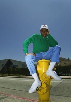 My man Tyler on the fire hydrant and shit Tyler The Creator Outfits, Tyler The Creator Fashion, Tyler The Creator Wallpaper, Estilo Hip Hop, Mode Streetwear, Photo Wall Collage, Looks Cool, Aesthetic Pictures, Pretty Boys