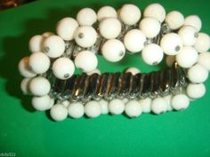FLEX STRETCH BRACELET, MILK GLASS WHITE BEADS, Haskell Estate Jewelry, NR