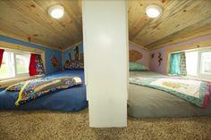 Family of Four's Double Loft Tiny Home on Wheels! -- split second loft for children