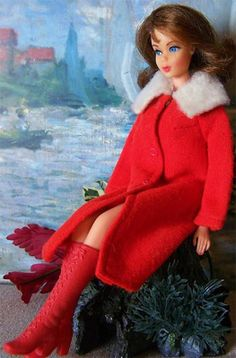 COLD SNAP #3429 (1971-1972) --- Red Cotton Knit Coat with White Fur Collar-had this coat.
