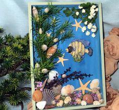 Striped Tropical Fish and shells Shadow Box_beach decor_nautical Seashell Ornaments, Seashell Art, Seashell Crafts, Beach Crafts, Tropical Decor, Tropical Fish, Seashell Wind Chimes, Fish Wall Decor, Sea Glass Crafts