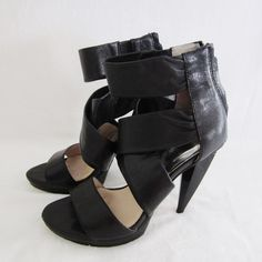 Michael Kors Black High Heel Strappy Sandal Shoes % Authentic Michael Michael Kors Black leather High Heel Strappy Sandal Shoes. Size 7M true size. Heel height is 5 inches w/ 1-inch platform. Pre-owned in good condition. Has normal signs of use and wear at the bottom soles and heels. Please see pictures carefully before buying. Sold as is! ❌TRADE❌SWAP ✔️15%OFF on Bundles. Message me if you have any questions. All sales are final. Thanks for looking. MICHAEL Michael Kors Shoes