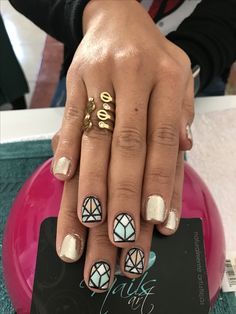 Acrylic nails, nails art, mirror nails