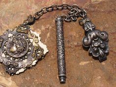 Antique  Hook Carnet de Bal Notebook Dance Card Mechanical Pencil. An old notebook with 4 blank dance cards and a sterling silver pencil    pieces are attached to this wonderful Chatelaine Hook with two separate chains    measuring 2.5 each, chains are untested and unmarked (possibly silver)