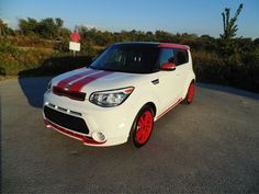 Customized Kia Soul Red Zone http://www.fergusonkia.com/blog/2014/october/9/wallys-boomer-sooner-scooter.htm
