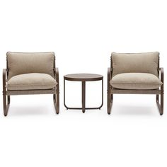 MoDRN Glam Merida 3pc Outdoor Lounge Chat Set - Wood Look | Hayneedle
