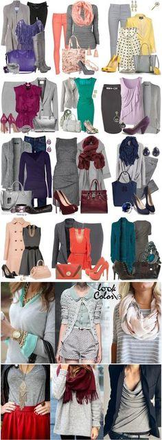 Сочетание серого цвета в одежде Серый цвет относится к нейтральным цветам. Может быть светлым, средним и темным, однако, любой серый оттенок поддерживает основной цвет уходя на второй план. Если вы хотите создать сочетание, где какой либо оттенок выходит на первый план, то серая пара будет кстати. Не стоит так же забывать о симультанном контрасте, который, по сути , вреден. Избавится от него можно подбирая теплые оттенки серого к теплым цветам, а холодные к холодным.