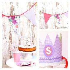 Promoción marzo! Fiesta Spring con banderín de tela, topper de tarta y corona de tela. Cumpleaños de niña perfecto. Ahorra con esta opción!