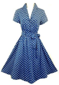 polka dot tea | Blue Polka Dot Tea Dress: Amazon.co.uk: Clothing