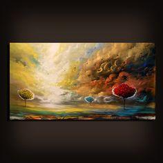 "64 x 31"" art original painting abstract sunset landscape painting Original Painting unstretched"