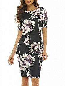 3/4 Sleeve Printed Bodycon Dress