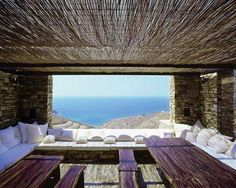 Outdoor seating in a home in Antiparos.  Deca architecture, via housedesigntrend.com