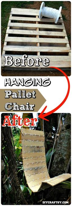 Excellent Hanging Pallet Chair Project - 150 Best DIY Pallet Projects and Pallet Furniture Crafts - Page 6 of 75 - DIY & Crafts