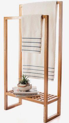 Clothes Rack Diy Bathroom Towels Ideas For 2019 Wooden Bathroom, Bathroom Towels, Bathroom Furniture, Home Furniture, Furniture Design, Bathroom Ideas, Towel Rack Bathroom, Bathroom Closet, Diy Home Decor