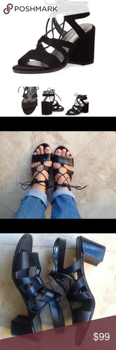 Stuart Weitzman Big Tie Girl Sandals Leather sandals by Stuart Weitzman. Heel is 2 1/2. Black leather...lace up. Leather soles. Made in Spain. Lightly worn. The suede version sells for 450.00...... Stuart Weitzman Shoes Sandals