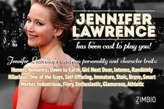 Jennifer Lawrence would play me in the story of my life! Who would play you?