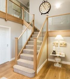 and wood Banister Staircase Renovations – Bespoke Staircases - Neville Johnson Basement Staircase, Stair Banister, Oak Stairs, Wood Staircase, Banisters, Staircase Design, Staircase Ideas, Open Basement, Basement Ideas