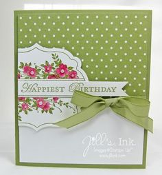 handmade birthday card ... Apothecary Art ... coordinating colors of ribbon, ink and designer paper ... pearl centers for the sweet flowers ... Stampin'Up!