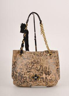 Leopard Print Leather Ribbon Chain Link Strap Shoulder Bag