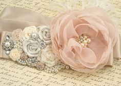 Bridal Sash - Sash in Blush Pink, Ivory, Champagne and Cream with Crystal Jewels, Ostrich Feathers and Handmade Flowers- Breath of Blush | Wedding in London | Scoop.it