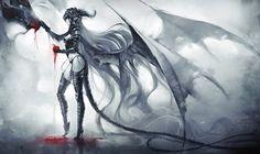 アート、越王、女の子、ドラゴン、アップル、赤、黒と白、翼、尾、角、髪、血液します。 ベクトル - ForWallpaper.com