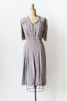 vintage 1940s grey purple bows silk rayon dress | Heather Violets Dress