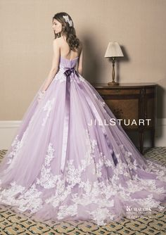 Utterly romantic lavender ombre gown from YNS Wedding with delicate ...