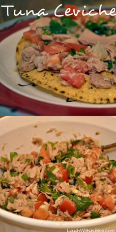 Tuna Ceviche Tostadas (with canned tuna) A healthy, low calorie snack or meal that's full of flavor!