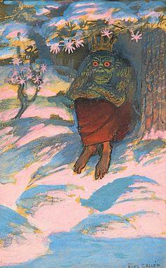 Hiisi, 1899, guassi paperille. Folklore, Illustration Art, Artists, Landscape, Eyes, Portrait, Random, Inspiration, Painting