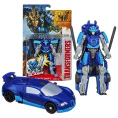 """Hasbro Year 2013 Transformers Movie Series 4 """"Age of Extinction"""" Power Attacker 5-1/2 Inch Tall Robot Action Figure - AUTOBOT DRIFT with Sword Slash Feature (Vehicle Mode: Bugatti)"""