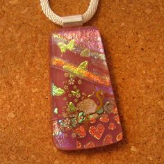 Pink Dichroic Glass Pendant Fused Glass Pendant by GlassMystique, $26.00