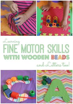 Learning Fine Motor Skills with Wooden Beads and Letters, too!