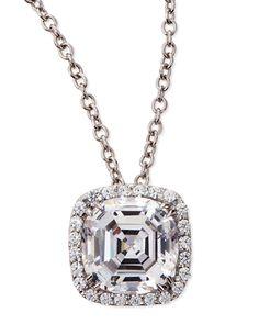 Fantasia Asscher-Cut CZ Crystal Pendant Necklace xMYzl83