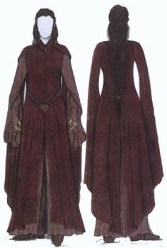 Arwen - costume concept art - cut scene - The Two Towers - Lord of the Rings - Helms Deep