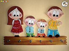 Dekorácie - Vešiak - na kľúče rodinka - 5938533_