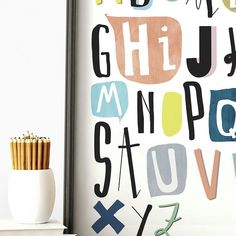Alphabet for kids room. Homeschooling #kidsroomart