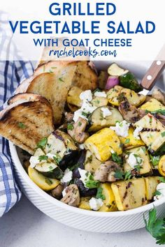 Tender marinated zucchini, summer squash, mushrooms, and red onions are grilled to smoky perfection, and topped with tangy goat cheese in this delish grilled vegetable salad. Serve it as a salad, a side dish, or a light summer entree. Grilled Roast, Grilled Pizza, Grilled Chicken Recipes, Grilled Vegetable Salads, Grilled Vegetables, Veggies, Summer Entrees, Grilling Recipes, Cooking Recipes