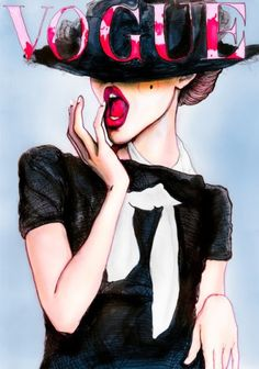 Danny Roberts illustration of a Vogue cover Art And Illustration, Magazine Illustration, Portrait Illustration, Vogue Paris, Danny Roberts, Arte Fashion, Vogue Fashion, Fashion Models, Chanel Fashion