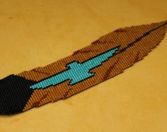 Two Feathers...Loomed Seed Bead by CabinFeverBracelets on Etsy