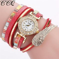 CCQ Fashion Brand Women Wristwatch Casual Analog Quartz Wing Rhinestone Watch Bracelet Watch