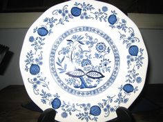 Blue Onion Dinner Plate/Enoch Wedgwood Tunstall/Longines Symphonette by iLikeEclectic on Etsy