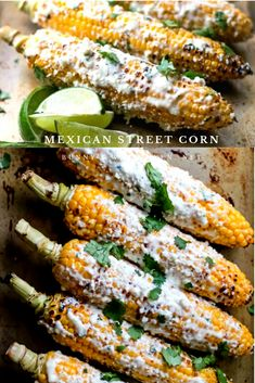 Mexican Street Corn- Fresh corn on the cob is grilled and then coated with a delicious combination of flavors and cheese . This delicious corn side dish will take you to Mexico without leaving your dinner table! Corn Recipes, Side Dish Recipes, Vegetable Recipes, Dinner Recipes, Dinner Ideas, Mexican Dishes, Mexican Food Recipes, Mexican Street Corn, Mexican Corn
