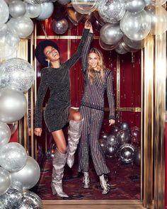 New Birthday Photoshoot Ideas For Women Harpers Bazaar Ideas Fashion Shoot, Party Fashion, Editorial Fashion, Fashion Rings, Fashion Dresses, Studio 54, Mode Disco, New Year Photoshoot, Christmas Editorial