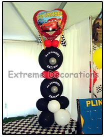 cars table arrangement - party decorations