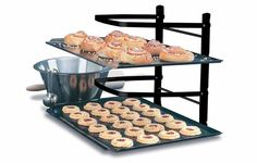 no matter how much counter space they have, they can never find enough room when it comes to preparing for a large party or their annual cookie swap. this gadget gives you plenty of rack space, and collapses for easy storage when not in use.